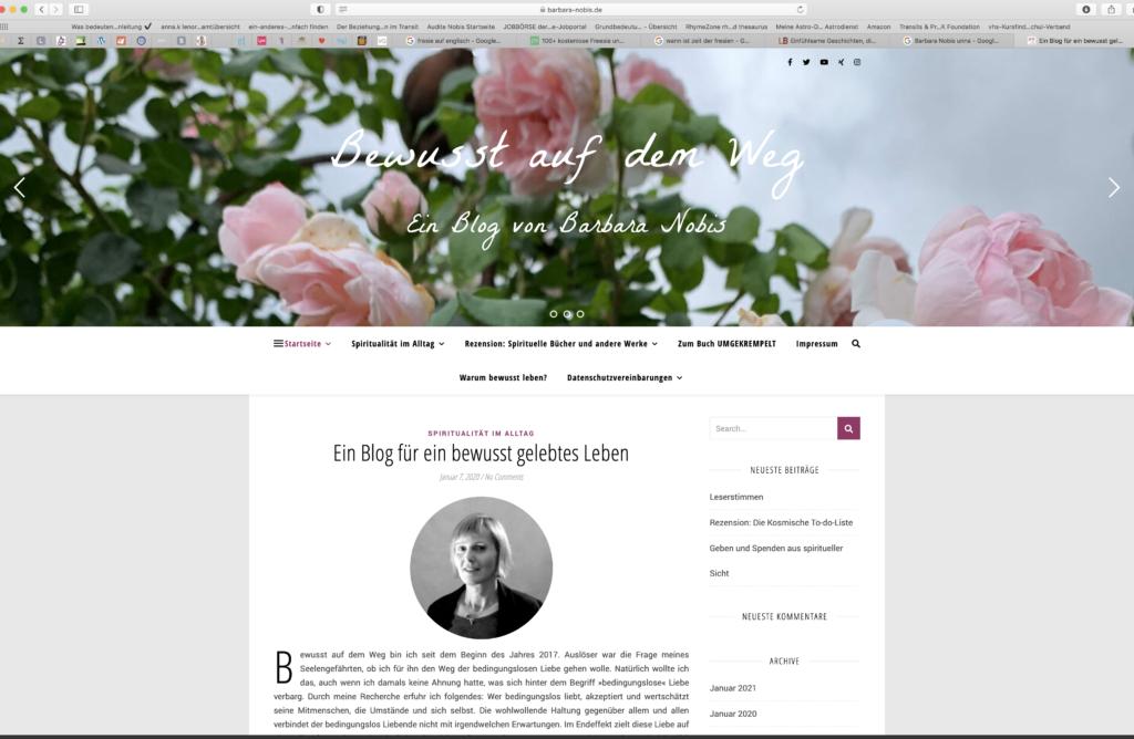 Das Impressum zeigt die Eingangsseite des Blogs Bewusst auf dem Weg des Blogs »Bewusst auf dem Weg«